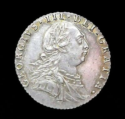 George III, Silver Sixpence, Young Bust, With Hearts, 1787, High Grade