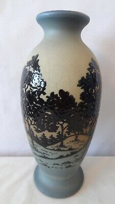 """Brush McCoy 1920's Rare Jetwood 10"""" 044 Squeeze Bag Vase With Trees #K314"""