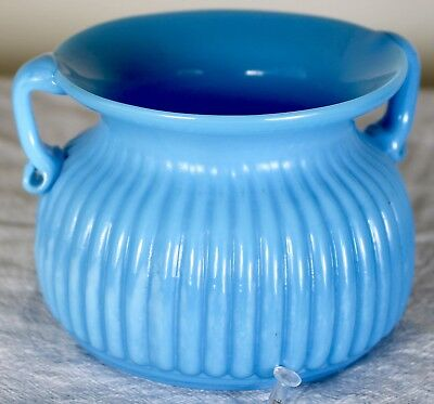 Blown Sky Blue Ribbed Handled Bowl/Spittoon