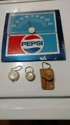 Vintage Pepsi Thermometer, Key Holder, Tape Measure and Nail Grooming Kit