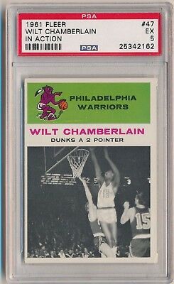 1961-62 Fleer Baloncesto #47 Wilt Chamberlain en Acción Hof PSA 5 Set Break