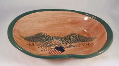 Brown and Green Pennsbury Pottery Pretzel Bowl American Spread Eagle Decoration