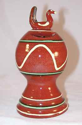 1987 Redware Bank Glazed Slip Decorated W/ Bird on Top By Dorothy Long SE PA