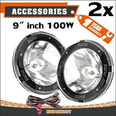 """Pair 9"""" Inch 12V 100W Hid Driving Lights Xenon Spotlight Offroad 4Wd SUV Ute RS"""