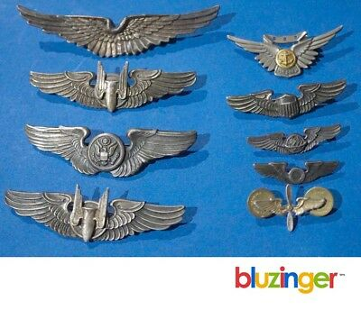 Vintage US Army Air Force Aviation Wings Collection Sterling Silver Pin