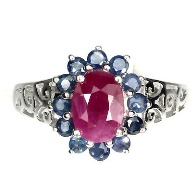 Elegant Oval 8x6mm Top Rich Red Pink Ruby Sapphire 925 Sterling Silver Ring Sz 9