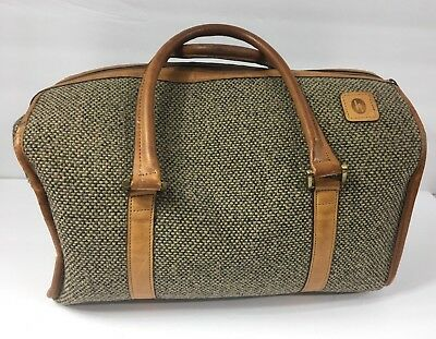 "Hartmann Tweed Duffel Bag Carry On Luggage Brown Leather Vintage 15"" X 9"" X 9"""