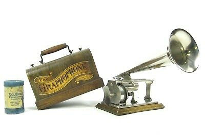 Near Mint 1899 Columbia Graphophone Type Q Cylinder Phonograph + Nickel Horn