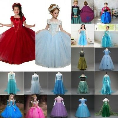 Girls Princess Frozen Anna Elsa Party Fancy Dress Up Gown Cosplay Costume Lot