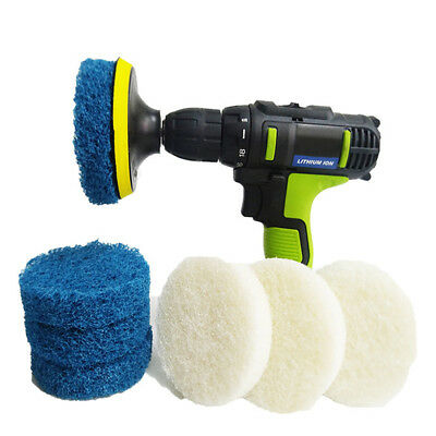 Scrubber Drill Plate Brushes Cleaning Sofa Bathroom Tile Grout Waxing Kit Ardent