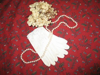 Dazzling Vintage white Gloves~Hand Beaded-Sparkles -New Old Stock UNWORN Wedding