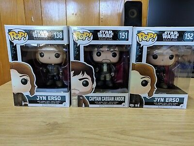 Funko Pop Vinyl - Star Wars Rogue One - 3 Figures - 2 x Jyn Erso, Cassian Andor