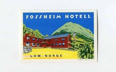circa 1950 Artistic Old Luggage Label Stalheim Hotel ~NORWAY~ Colorful
