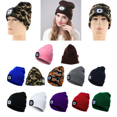 LED Light Cap Lighted Headlamp Beanie Hat For Sports Hunting Camping Fishing