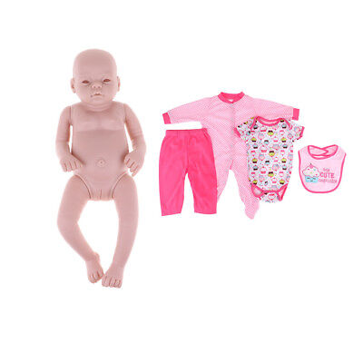 """Real Touch Vinyl 20"""" Reborn Awake Baby Girl Doll Mold Doll Clothes Suit DIY"""