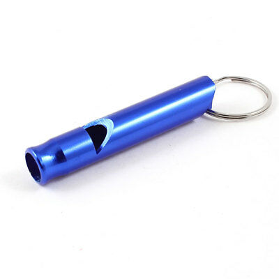 Blue Metal Pet Dog Puppy Obedience Training Whistle w Key Chain Ring