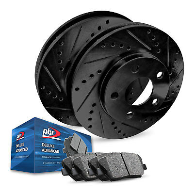 For 2015-2018 Acura TLX Rear PBR AXXIS Drill/Slot Brake Rotors+Ceramic Pads