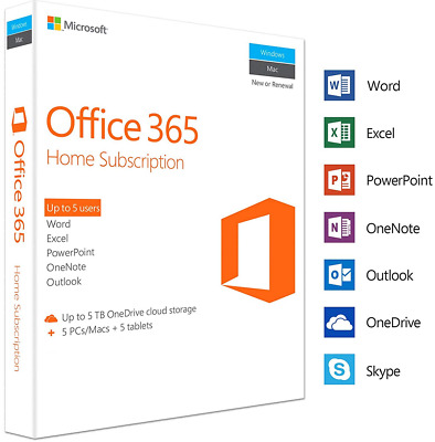 Microsoft Office 365 Home Subscription for 5 PC/Mac 5TB OneDrive | Office 2016