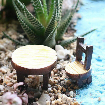 Moss Micro Landscape Fleshy Plant Round Table Chair Resin Craft Ornaments Z