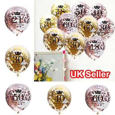 18-60th 5PCS Happy Birthday Number Confetti Filled Balloons Party Decorations Y