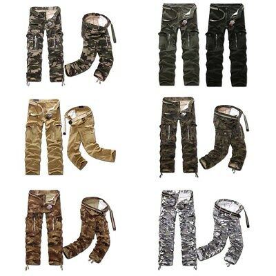 Mens Camo Designed Cargo Military Army Combat Work Long Pants Fitted Trousers