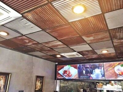 """{10 pcs 23 7/8"""" x 23 7/8""""} 40 sq ft RECLAIMED CORRUGATED ROOFING CEILING TILE>>>"""
