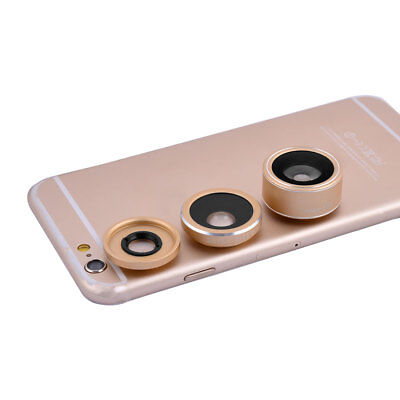4 in 1 198 Degree Fish Eye 0.4x Wide Angle Fill light Phone Lens Kits Gold Tone