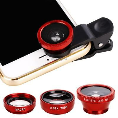Smart Phone Camera Lens Universal 3 in 1 Clip On Kit Wide Angle Fish Eye Macro-