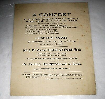 WW1 Orig Leaflet FUND FOR POW's & STREATHAM RED CROSS HOSPITAL Home Front