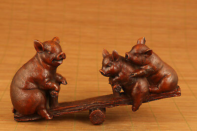 big japanese old boxwood hand carved pig seesaw statue figure ornament netsuke