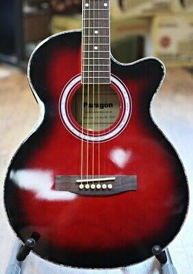 Electro Acoustic Guitar In Red Sunburst by Paragon