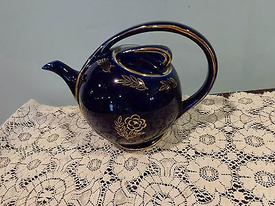 Vintage Hall 0443 6 Cup Airflow Cobalt Blue & Gold Decor Gold Trim Teapot