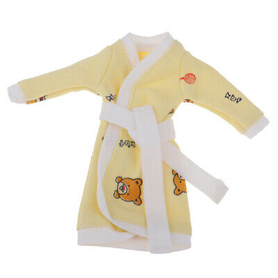 Yellow Bathrobe For 1/6 Dolls Winter Pajama Wear Sleeping Casual Clothes