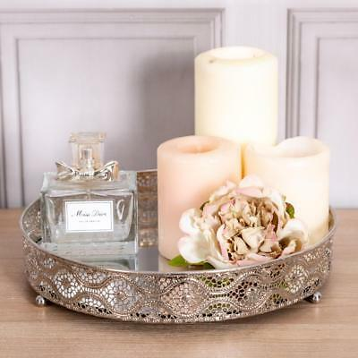 Medium Silver Mirrored Ornate Tray  Chic Wedding Table Center Candle Plate Home