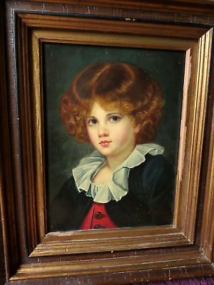 After French JEAN-BAPTISTE GREUZE Portrait Painting BOY IN RED WAISTCOAT