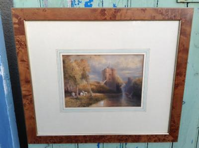 Superb Antique French Watercolour Painting Country Castle River Scene 19thC Chic