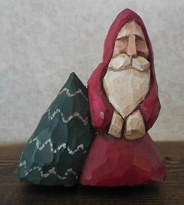 Primitive Vintage Carved Santa & Tree Christmas Decoration Signed WM 88