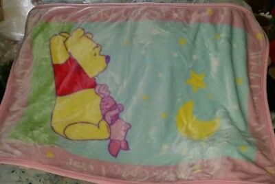 Vintage Winnie the Pooh Wish Upon A Star Pink Plush Luxe Blanket Throw