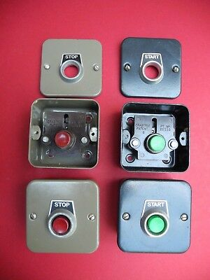 RARE CRABTREE VINTAGE STOP or START BUTTON METAL SURFACE 20mm KNOCK OUTS