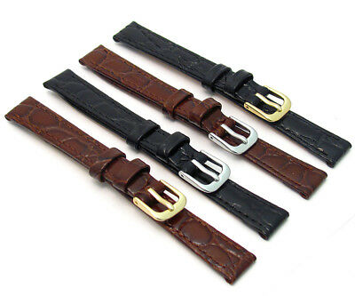CONDOR Ladies Flat Crocodile Grain Leather Watch Strap 8mm 10mm 12mm 14mm 082R