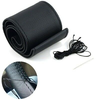 Black DIY PU Leather Car Truck Auto Steering Wheel Cover With Needles and Thread
