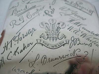"Interesting ""France 1919"" The Welsh Regiment Silver Cigarette Case."