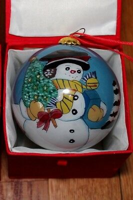 Li Bien Reverse Inside Painting Glass Christmas Ornament Ball Snowman w/tree NIB