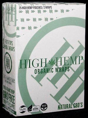 High Hemp Organic Wraps Vegan 25 Pouches (2 Per Pouch) 50 Wraps Total (FULL BOX)