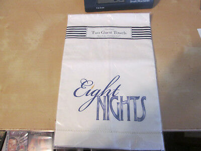 """NEW Mary Lake-Thompson Fine Linen Two Guest Towels """"Eight Nights"""""""