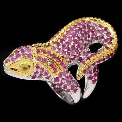 Awesome Round Top Red Pink Ruby Chrome Diopside 925 Sterling Silver Iguana Ring