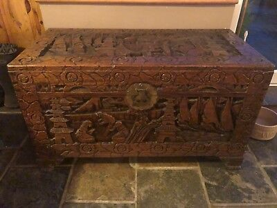 Vintage Chinese Carved Canphor Wood Blanket Box / Chest