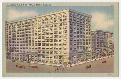 Chicago Illinois c1935 Marshall Field & Co. Department Store, vintage trolley