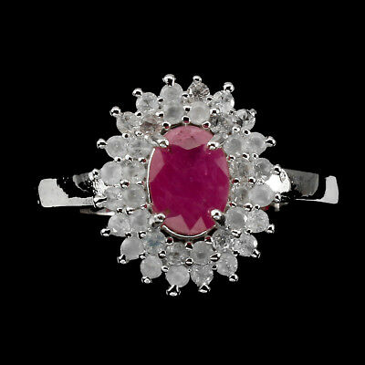 Gorgeous Oval 7x5mm Top Rich Red Pink Ruby Sapphire 925 Sterling Silver Ring 8.5