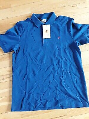 Farah Classic Cove Short Sleeve Polo Shirt Regatta Blue 100% Cotton M New BNWT